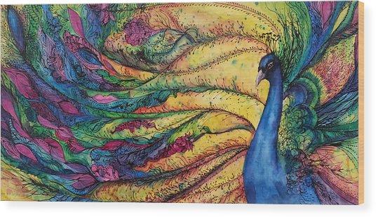 Rainbow Peacock Wood Print