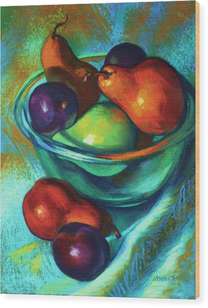 Rainbow Pears Wood Print