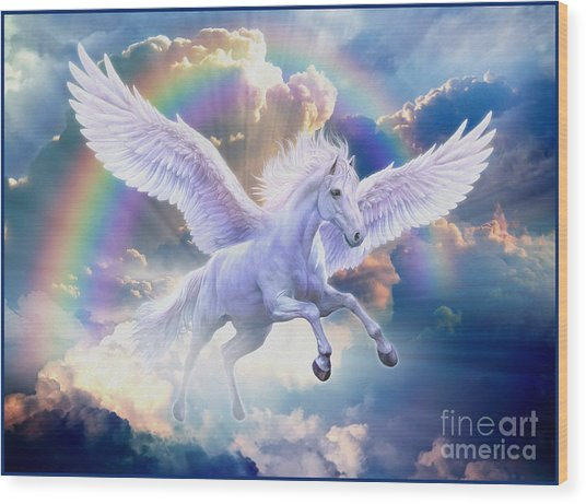 Rainbow Pegasus Wood Print
