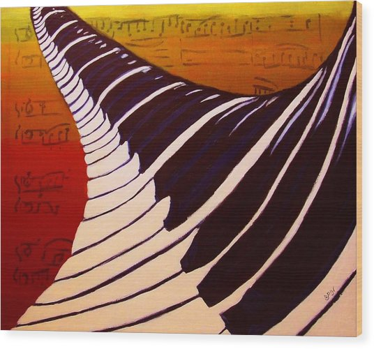 Rainbow Piano Keyboard Twist In Acrylic Paint With Sheet Music Notes In Blue Yellow Orange Red Wood Print