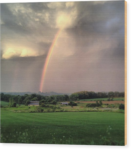Rainbow Poured Down Wood Print