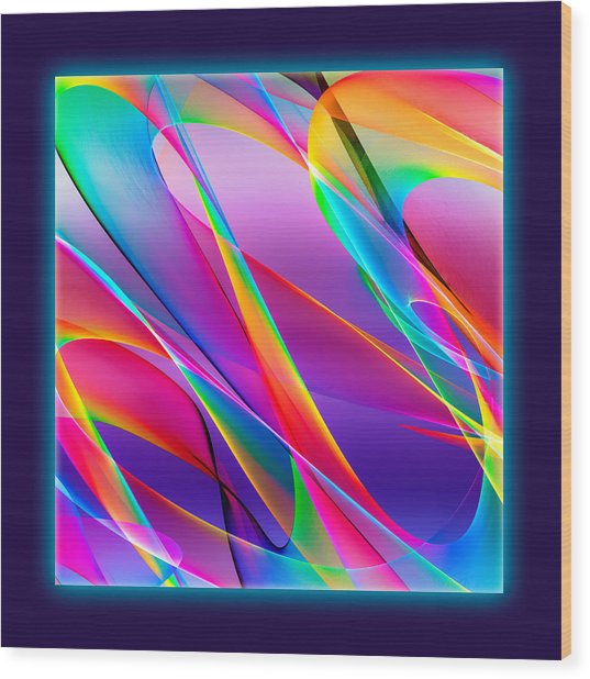 Rainbow Ribbons Wood Print