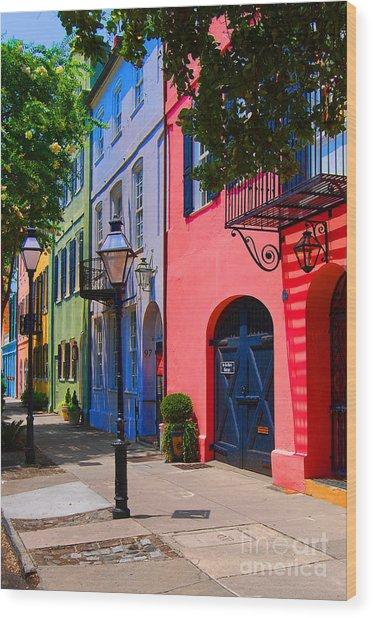 Rainbow Row Charleston Wood Print