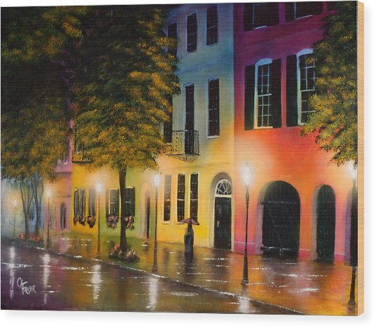 Rainbow Row Wood Print
