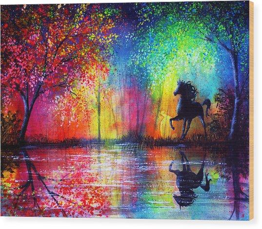 Rainbow Stallion Wood Print by Ann Marie Bone