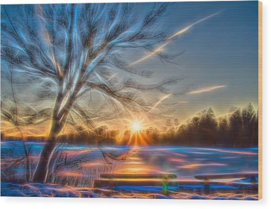 Rainbow Sunset On Snow Covered Lake Wood Print