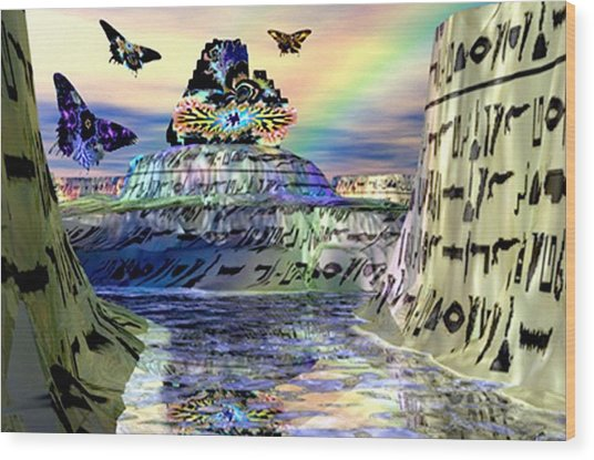 Rainbow Temple Wood Print by Rebecca Phillips