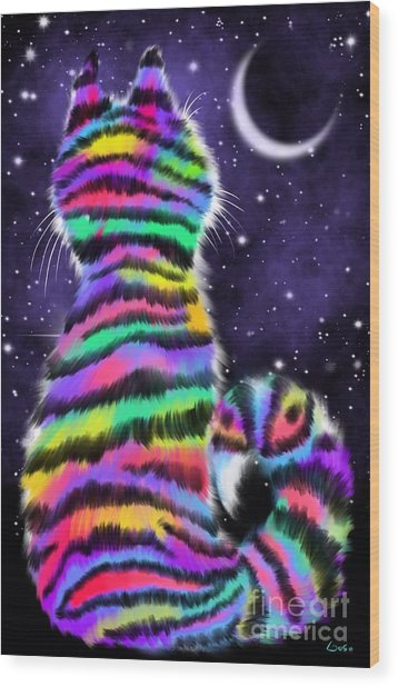 Rainbow Tiger Cat Wood Print