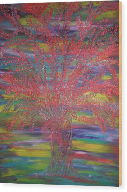 Rainbow Tree Wood Print by Nico Bielow