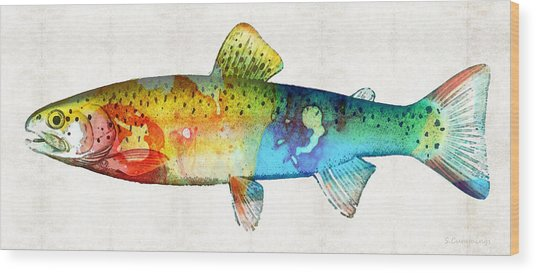 Rainbow Trout Art By Sharon Cummings Wood Print
