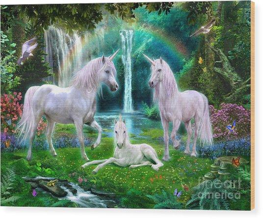 Rainbow Unicorn Family Wood Print