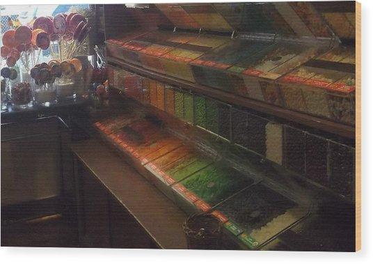Rainbow Vintage Jelly Bean Shop Wood Print