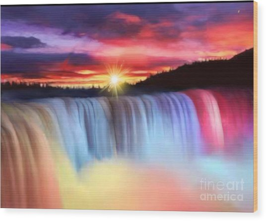 Rainbow Waterfall Wood Print