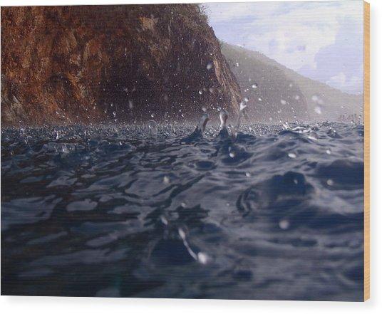 Raindrops In The Bvi Wood Print