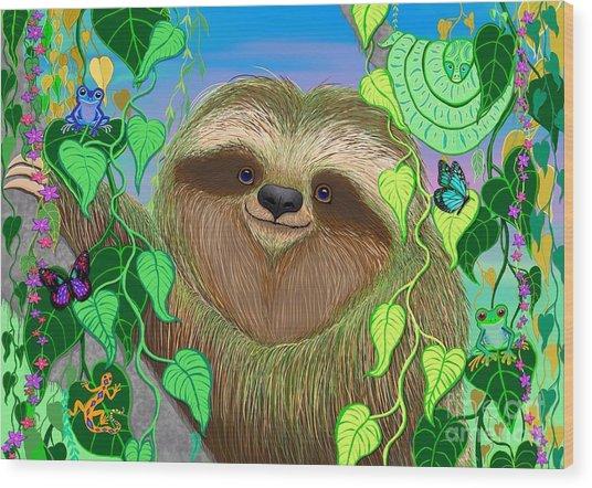 Rainforest Sloth Wood Print