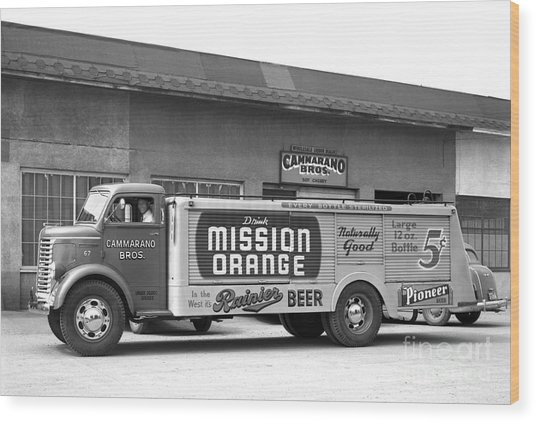 Rainier Beer Mission Orange Wood Print