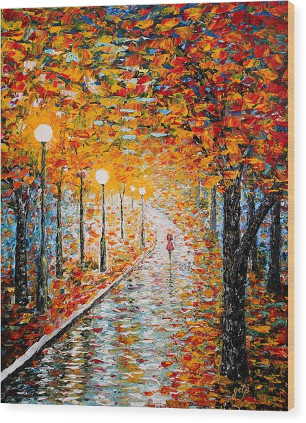 Wood Print featuring the painting Rainy Autumn Day Palette Knife Original by Georgeta  Blanaru
