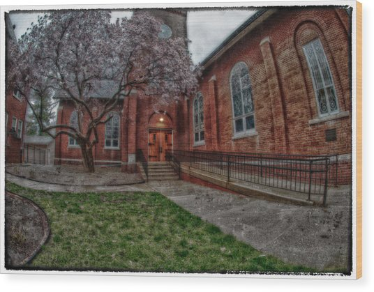 Rainy Church Wood Print