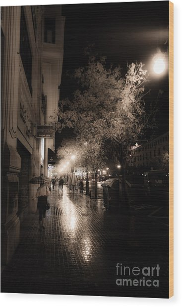 Rainy City Streets  Wood Print