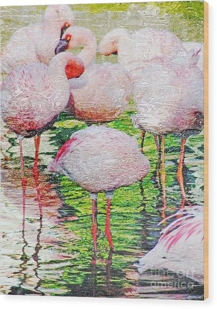 Rainy Day Flamingos 2 Wood Print