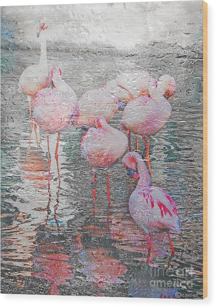 Rainy Day Flamingos Wood Print