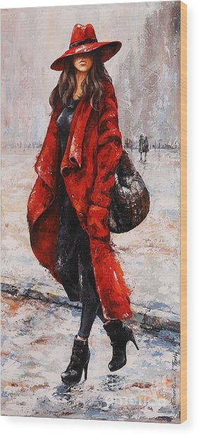 Rainy Day - Red And Black #2 Wood Print