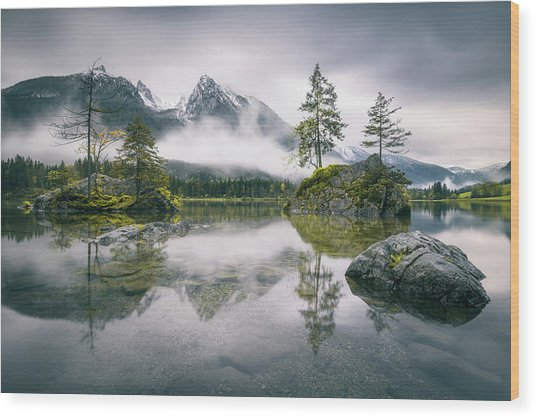 Rainy Morning At Hintersee (bavaria) Wood Print by Dirk Wiemer
