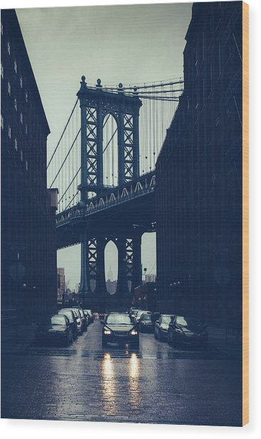 Rainy New York City Wood Print by Ferrantraite