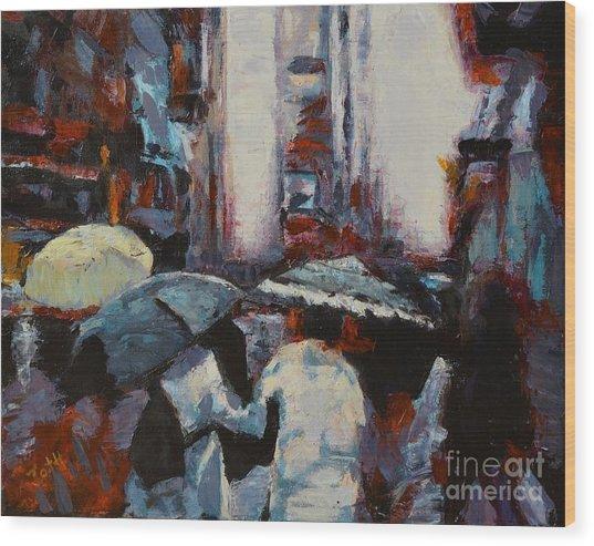 Rainy New York Wood Print