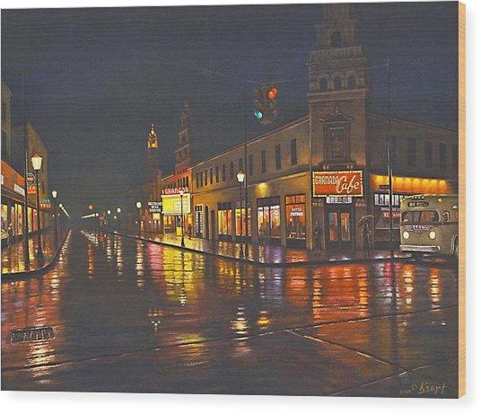 Rainy Night-117th And Detroit     Wood Print