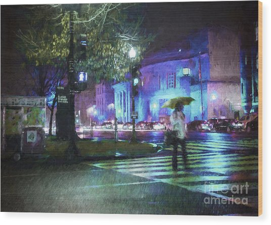 Rainy Night Blues Wood Print