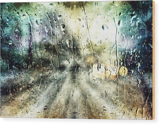 Rainy Night Wood Print