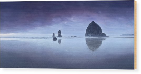 Rainy Sunset Over Cannon Beach Wood Print