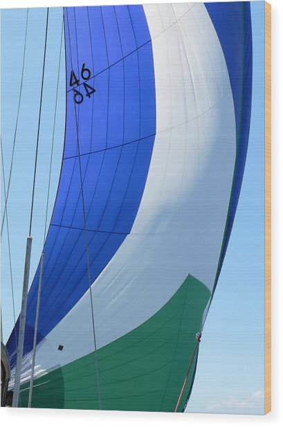 Raising The Blue And Green Sail Wood Print