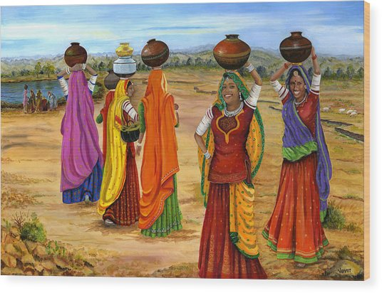 Rajasthani  Women Going Towards A Pond To Fetch Water Wood Print by Vidyut Singhal