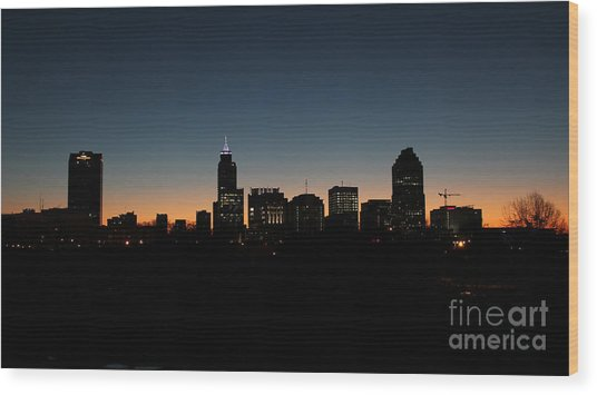 Raleigh North Carolina Skyline At Dawn Wood Print