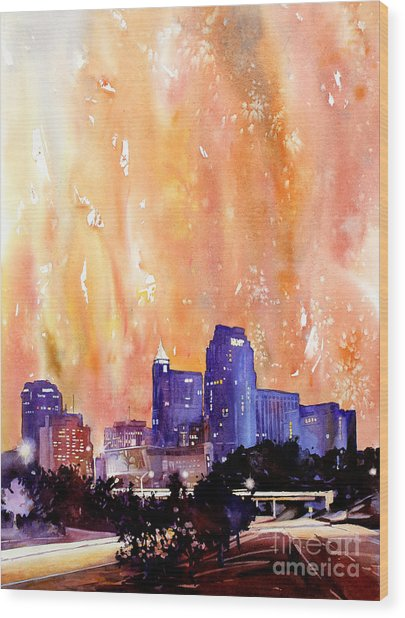 Raligh Skyline Sunset Wood Print