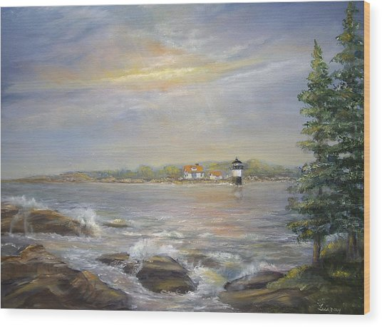 Ram Island Lighthouse Main Wood Print