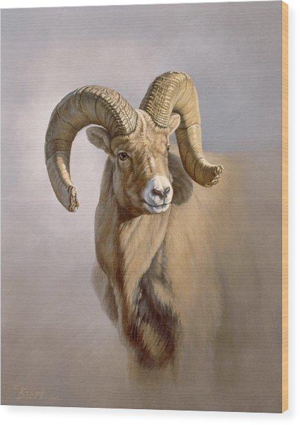 Ram Portrait Wood Print by Paul Krapf