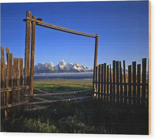 Ranch Gate Wood Print by Mike Norton