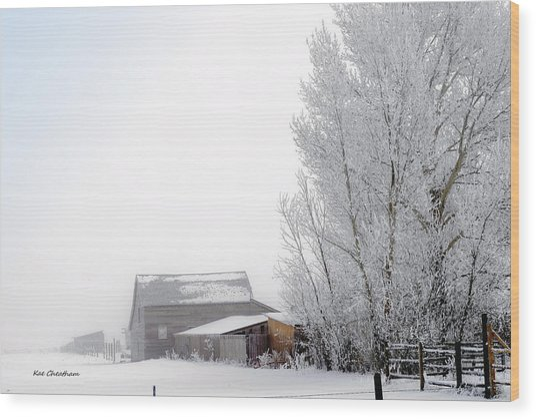 Ranch In Frozen Fog Wood Print