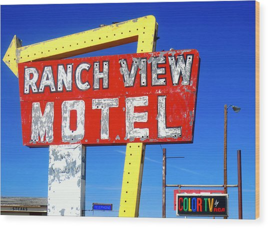 Ranch View Motel Wood Print