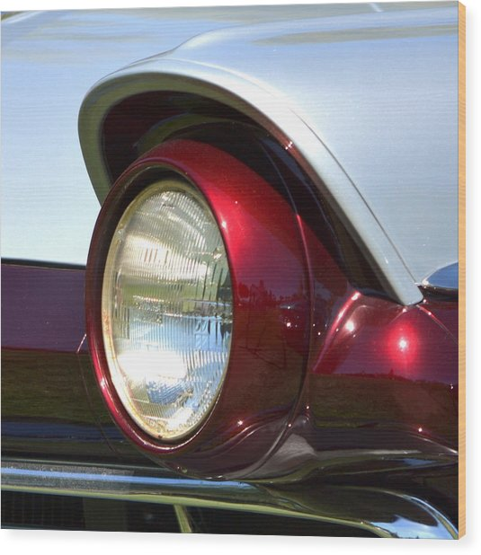Ranch Wagon Headlight Wood Print