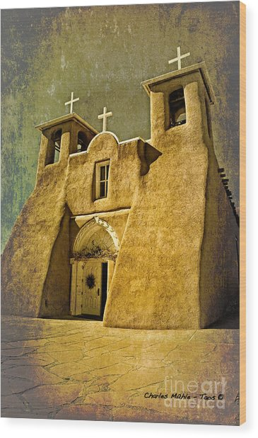 Ranchos Church In Old Gold Wood Print