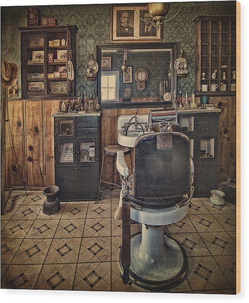 Randsburg Barber Shop Interior Wood Print