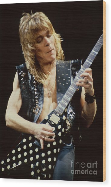 Randy Rhoads At The Cow Palace During Guitar Solo Wood Print
