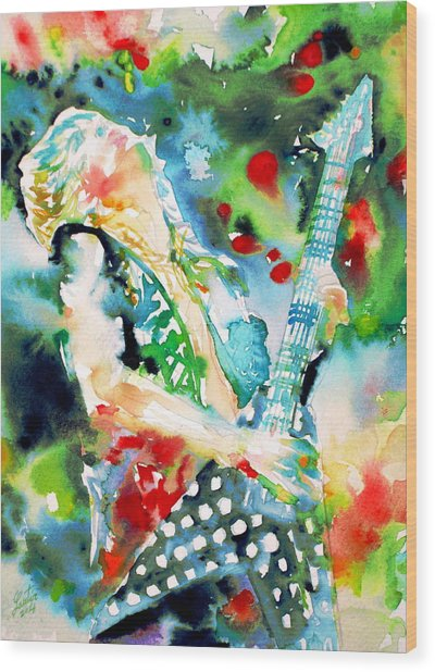 Randy Rhoads Playing The Guitar - Watercolor Portrait Wood Print
