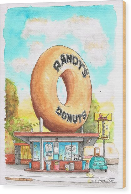 Randy's Donuts In Los Angeles - California Wood Print