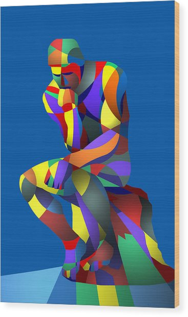 Randy's Rodin Blue Wood Print