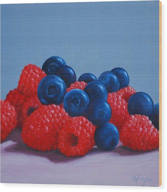 Raspberries And Blueberries Wood Print